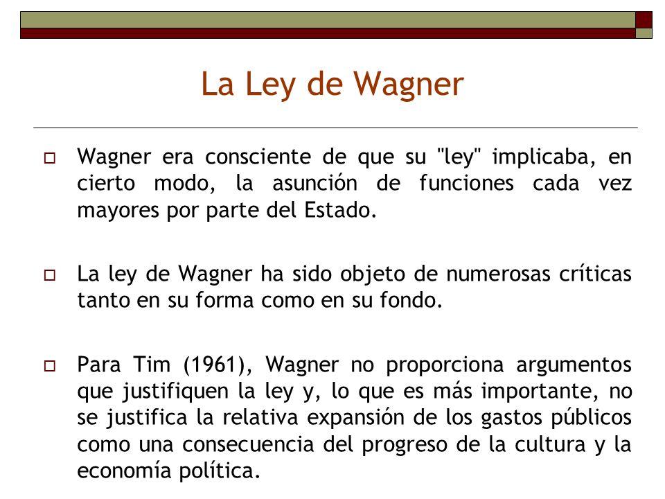 La Ley de Wagner Wagner era consciente de que su ley implicaba, en cierto modo, la asunción de funciones cada vez mayores por parte del Estado.