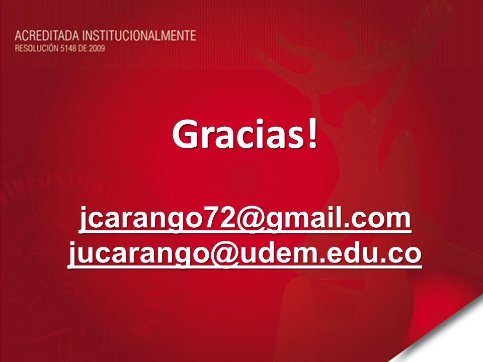 Gracias! jcarango72@gmail.com jucarango@udem.edu.co