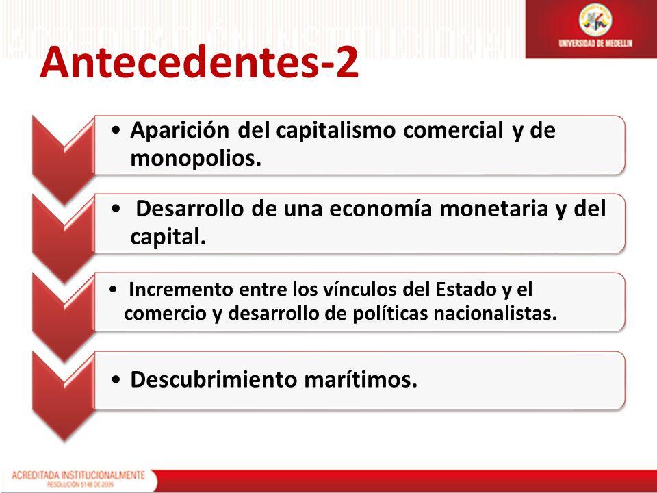 Antecedentes-2 Aparición del capitalismo comercial y de monopolios.