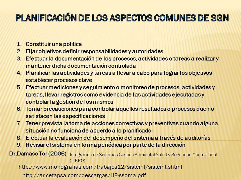 PLANIFICACIÓN DE LOS ASPECTOS COMUNES DE SGN