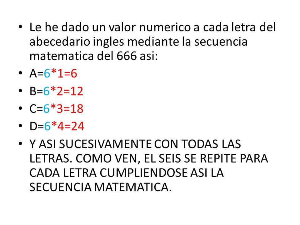 Le he dado un valor numerico a cada letra del abecedario ingles mediante la secuencia matematica del 666 asi: