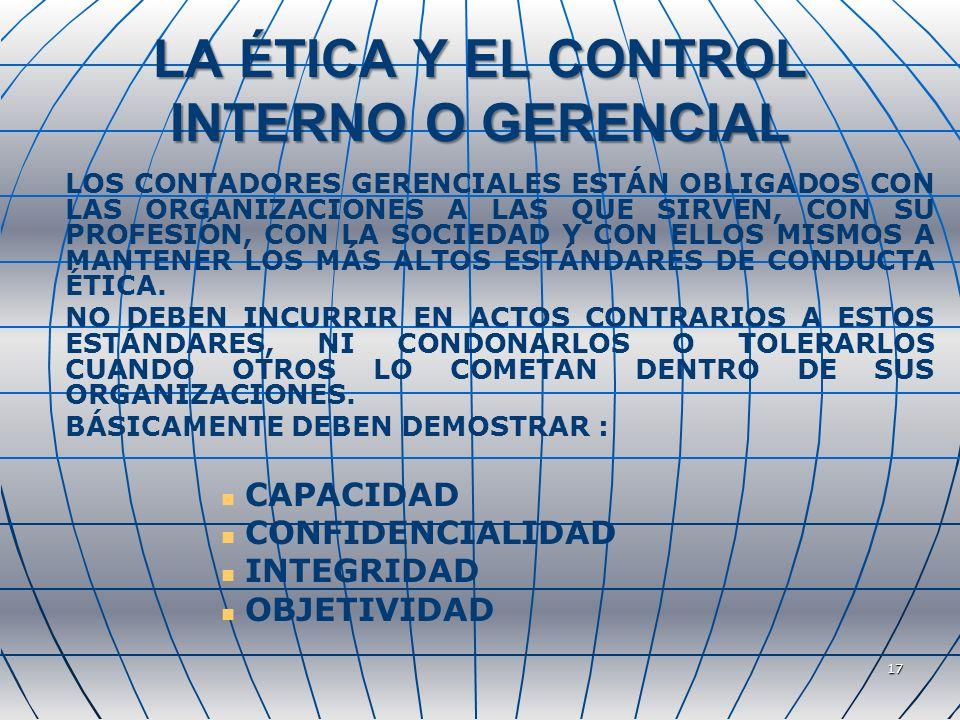 LA ÉTICA Y EL CONTROL INTERNO O GERENCIAL