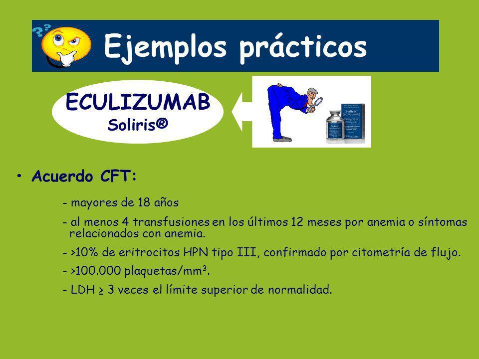 Ejemplos prácticos ECULIZUMAB Soliris® • Acuerdo CFT:
