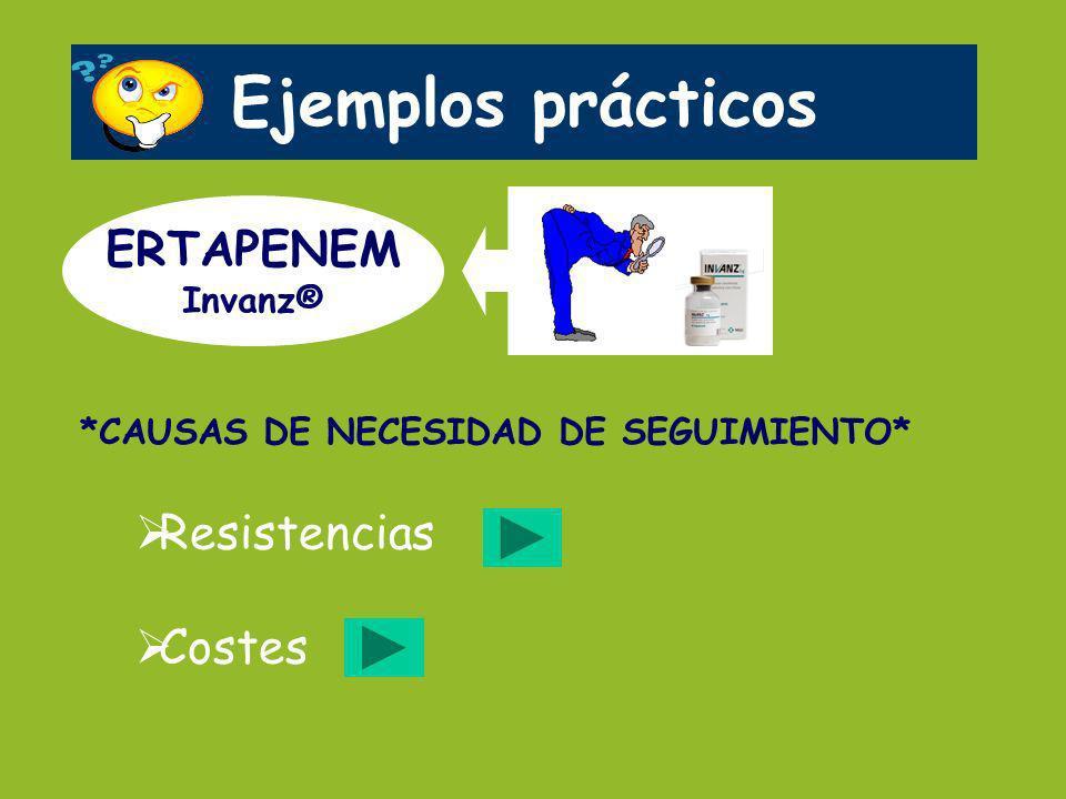 Ejemplos prácticos ERTAPENEM Resistencias Costes Invanz®