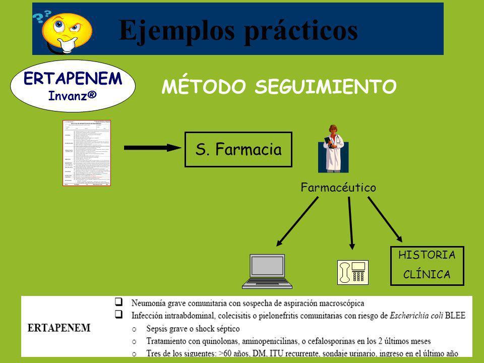 Ejemplos prácticos MÉTODO SEGUIMIENTO ERTAPENEM S. Farmacia Invanz®