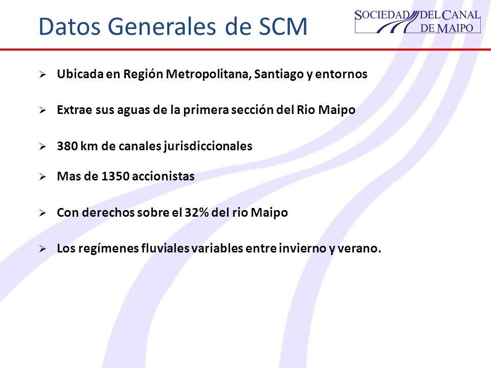 Datos Generales de SCMUbicada en Región Metropolitana, Santiago y entornos. Extrae sus aguas de la primera sección del Rio Maipo.