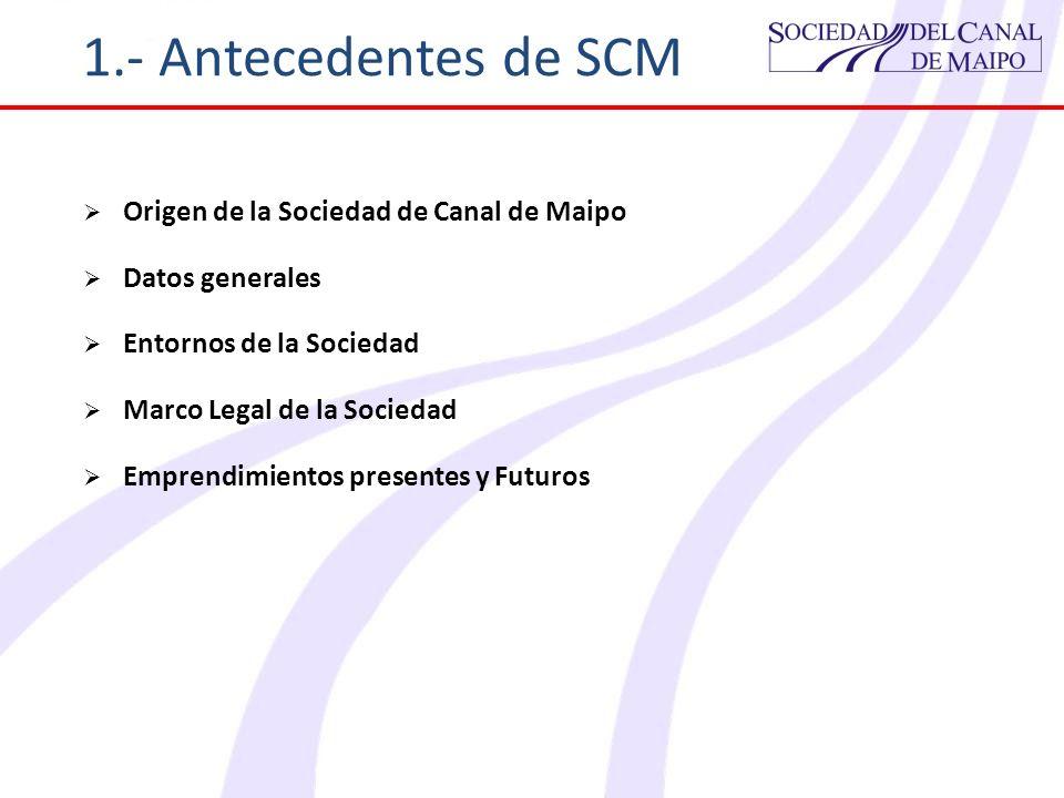 1.- Antecedentes de SCM Origen de la Sociedad de Canal de Maipo