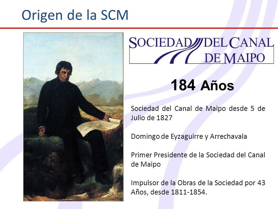 Origen de la SCM184 Años. Sociedad del Canal de Maipo desde 5 de Julio de 1827. Domingo de Eyzaguirre y Arrechavala.