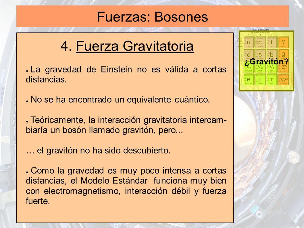 Fuerzas: Bosones 4. Fuerza Gravitatoria