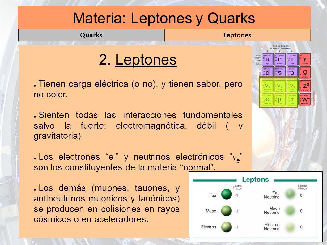 Materia: Leptones y Quarks
