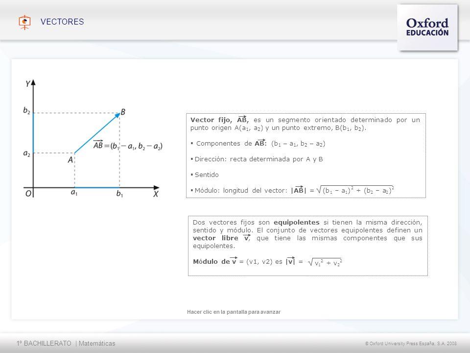 VECTORES Vector fijo, AB, es un segmento orientado determinado por un punto origen A(a1, a2) y un punto extremo, B(b1, b2).