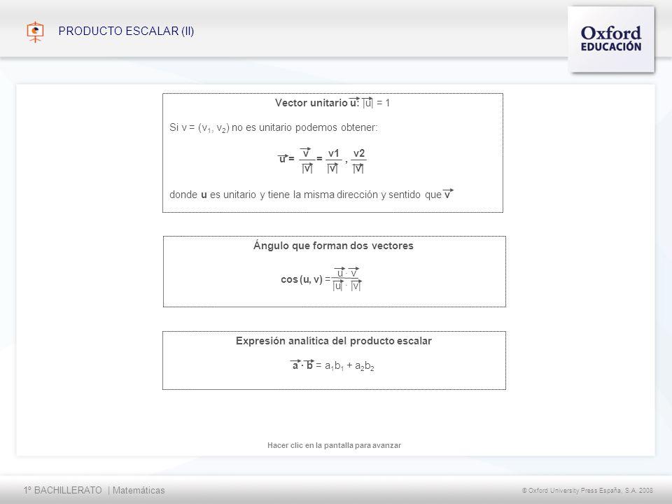 PRODUCTO ESCALAR (II) Vector unitario u: |u| = 1
