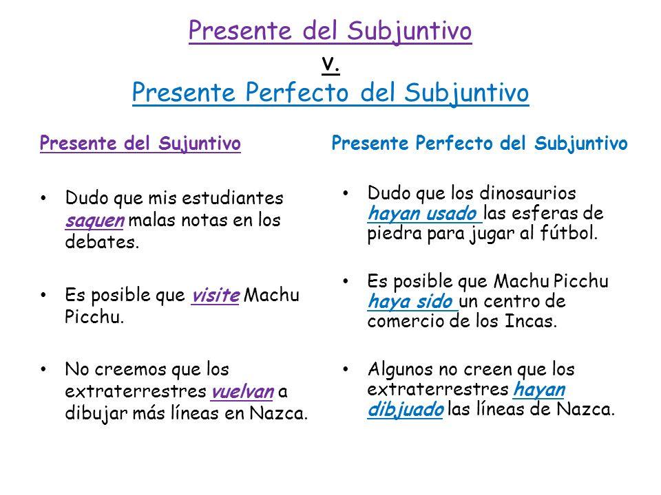 Presente del Subjuntivo v. Presente Perfecto del Subjuntivo