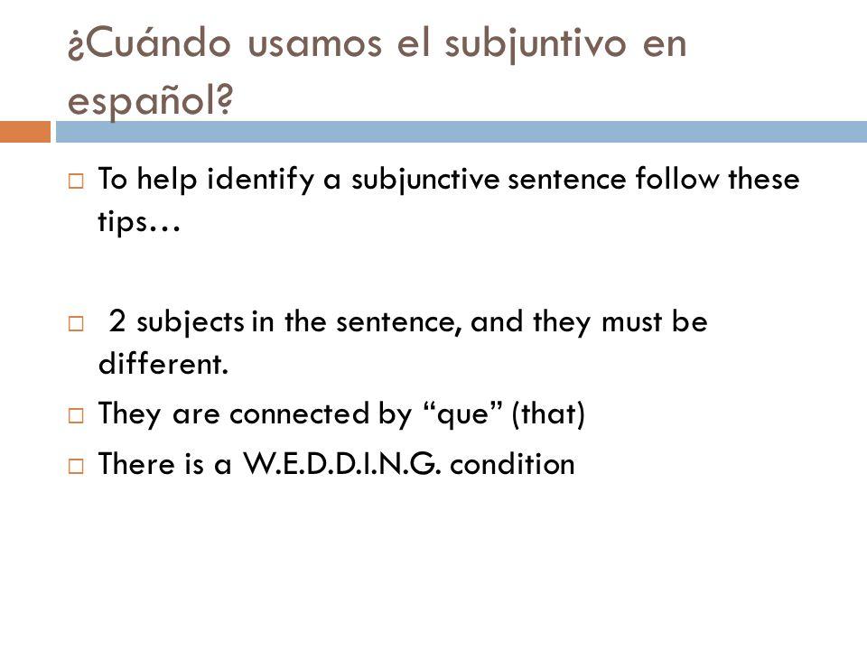 ¿Cuándo usamos el subjuntivo en español