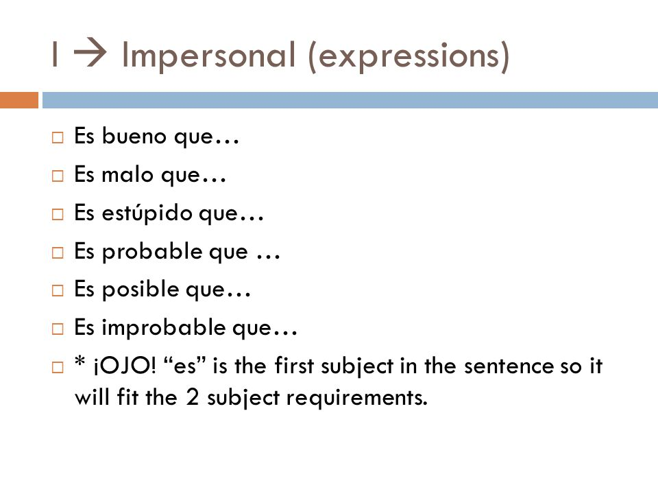 I  Impersonal (expressions)