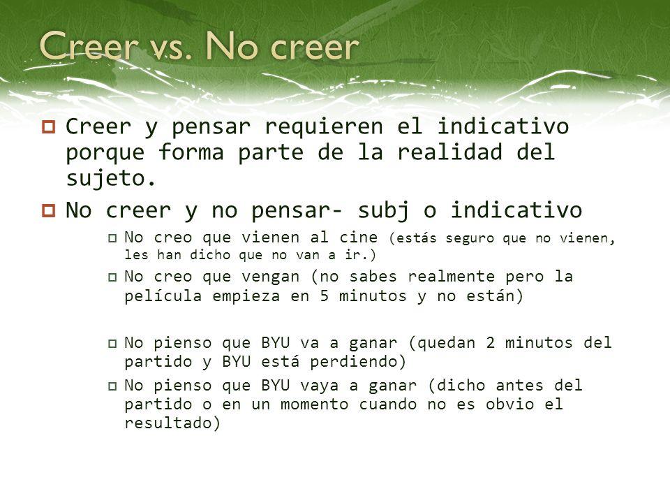 Creer vs. No creer Creer y pensar requieren el indicativo porque forma parte de la realidad del sujeto.