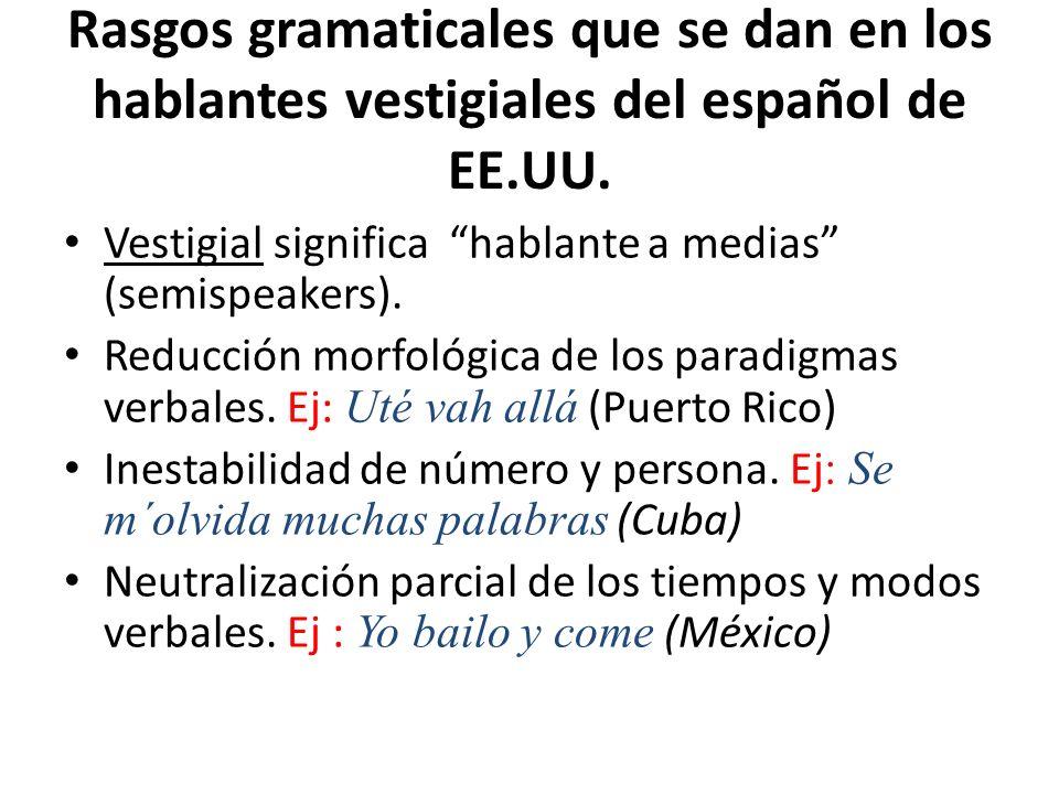 Rasgos gramaticales que se dan en los hablantes vestigiales del español de EE.UU.