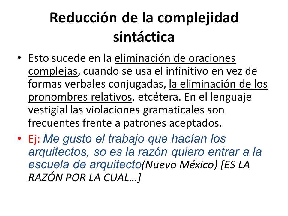 Reducción de la complejidad sintáctica