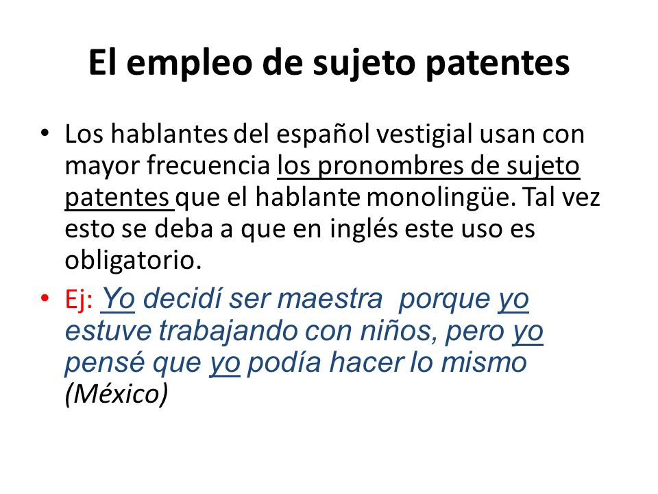 El empleo de sujeto patentes