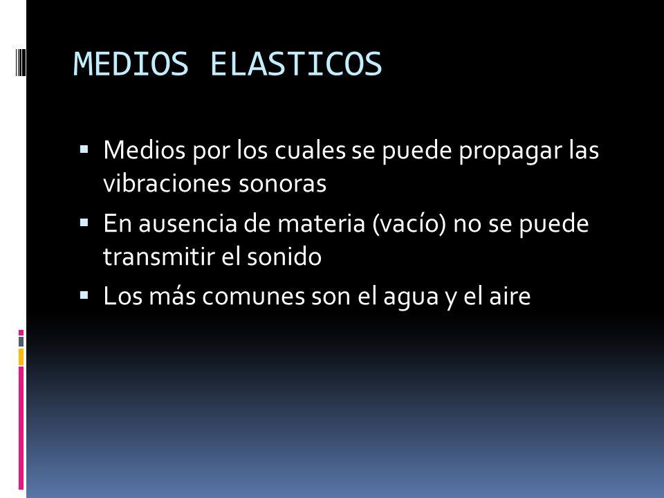 MEDIOS ELASTICOS Medios por los cuales se puede propagar las vibraciones sonoras. En ausencia de materia (vacío) no se puede transmitir el sonido.