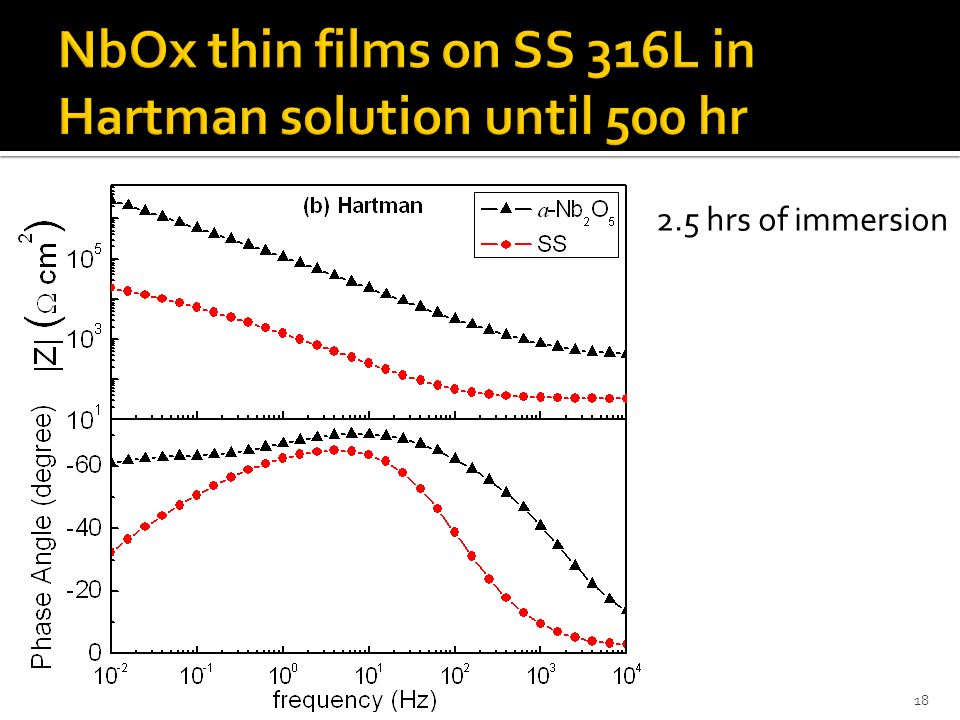 NbOx thin films on SS 316L in Hartman solution until 500 hr