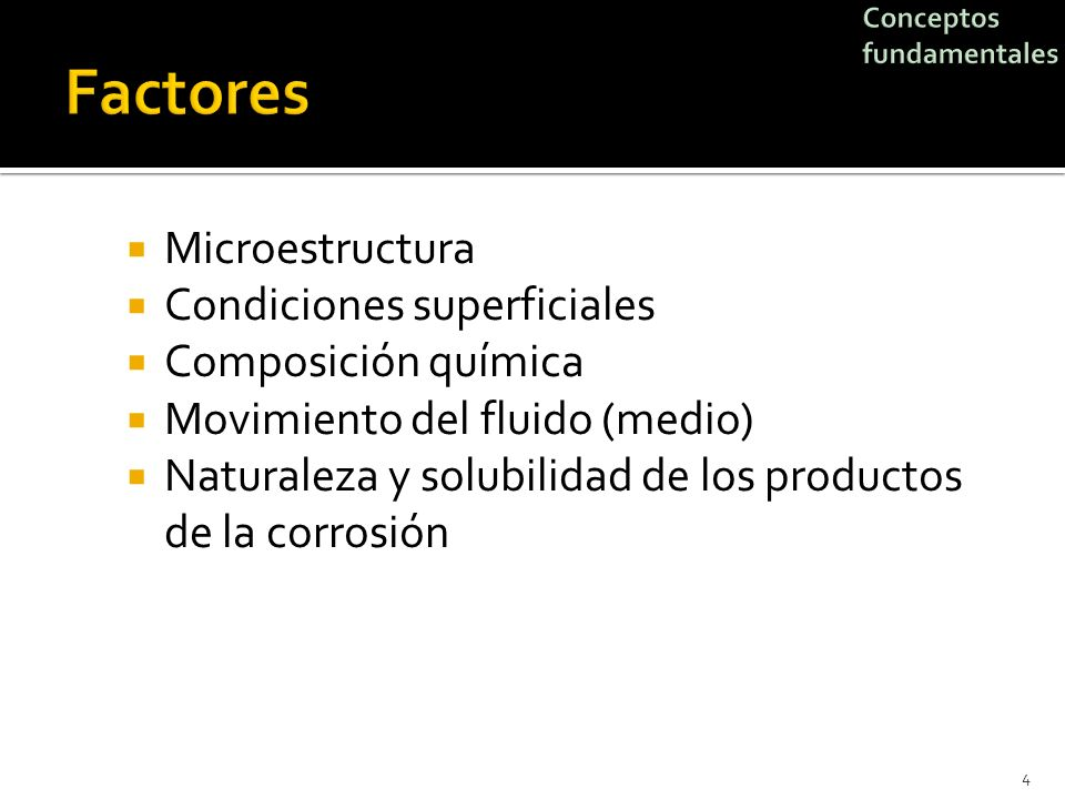 Factores Microestructura Condiciones superficiales Composición química