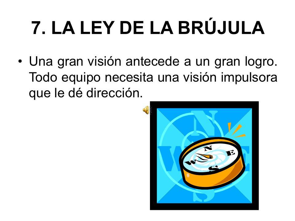 7. LA LEY DE LA BRÚJULA Una gran visión antecede a un gran logro.