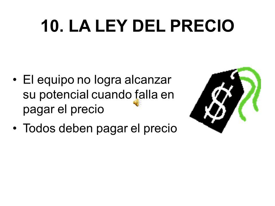 10. LA LEY DEL PRECIO El equipo no logra alcanzar su potencial cuando falla en pagar el precio.