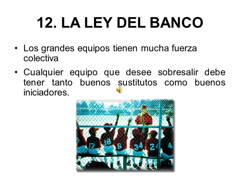 12. LA LEY DEL BANCO Los grandes equipos tienen mucha fuerza colectiva
