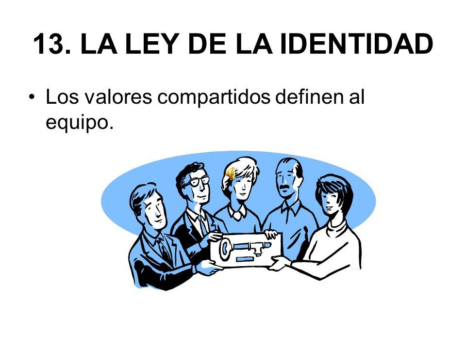 13. LA LEY DE LA IDENTIDAD Los valores compartidos definen al equipo.
