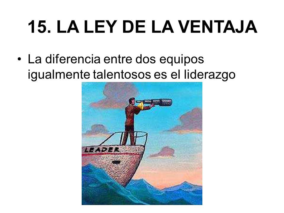 15. LA LEY DE LA VENTAJA La diferencia entre dos equipos igualmente talentosos es el liderazgo