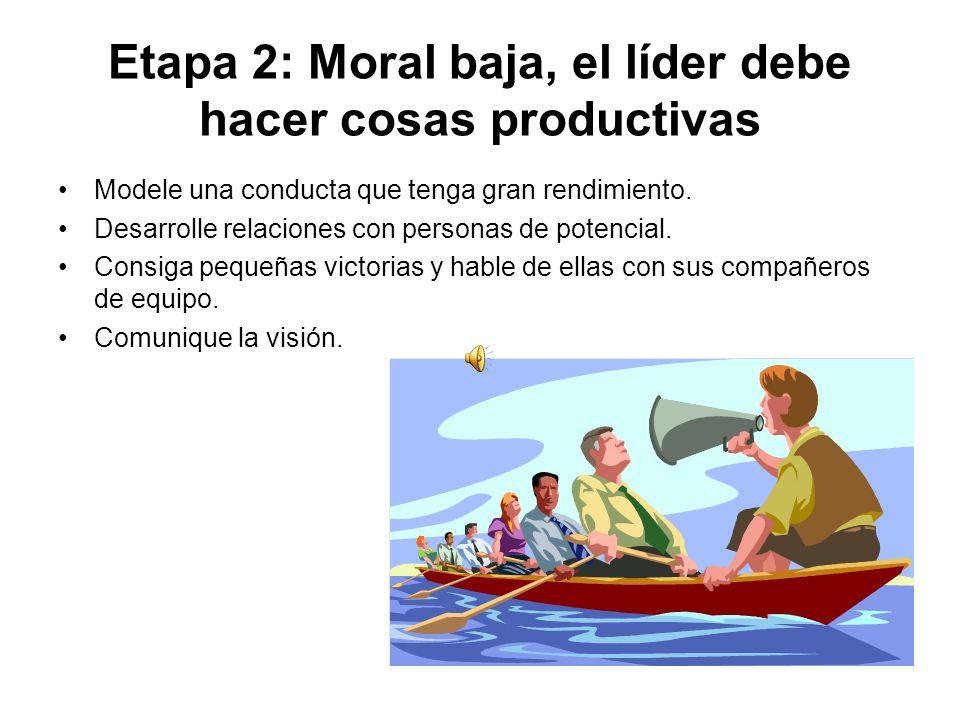 Etapa 2: Moral baja, el líder debe hacer cosas productivas