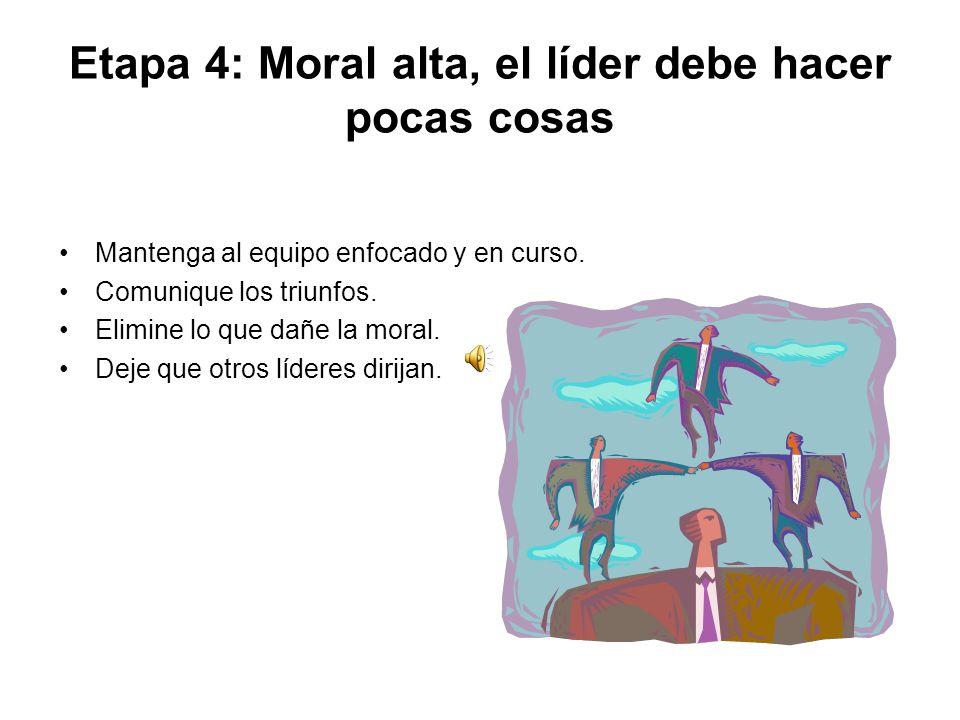 Etapa 4: Moral alta, el líder debe hacer pocas cosas
