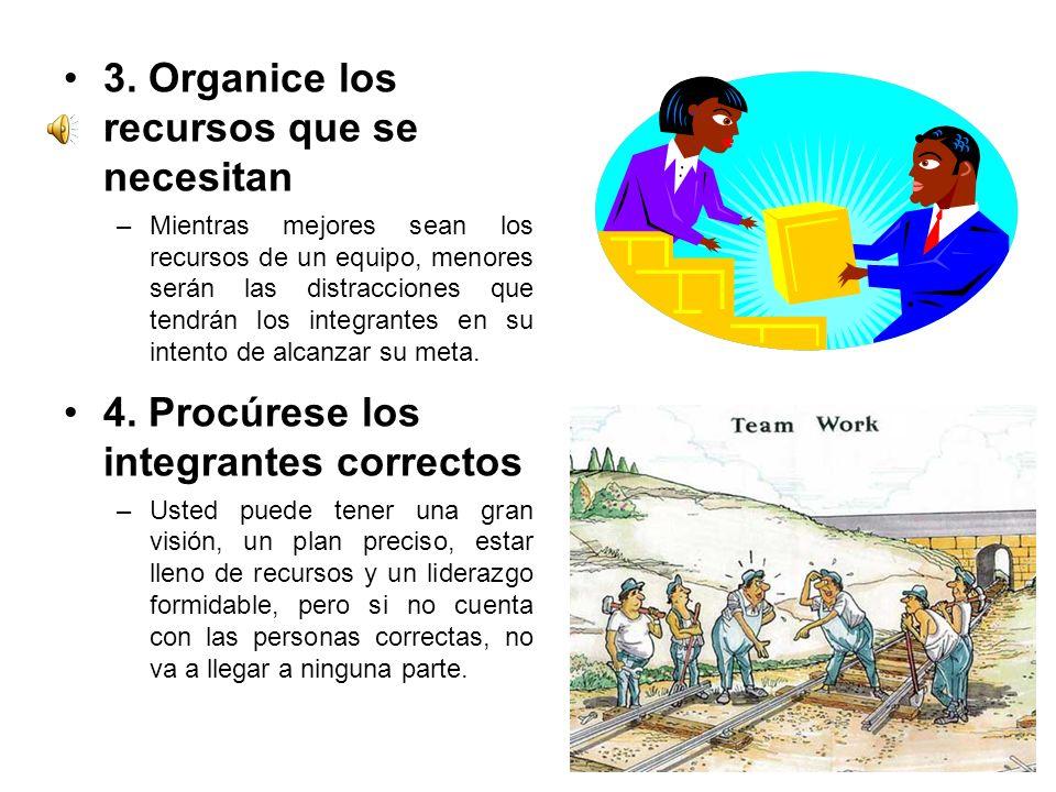 3. Organice los recursos que se necesitan