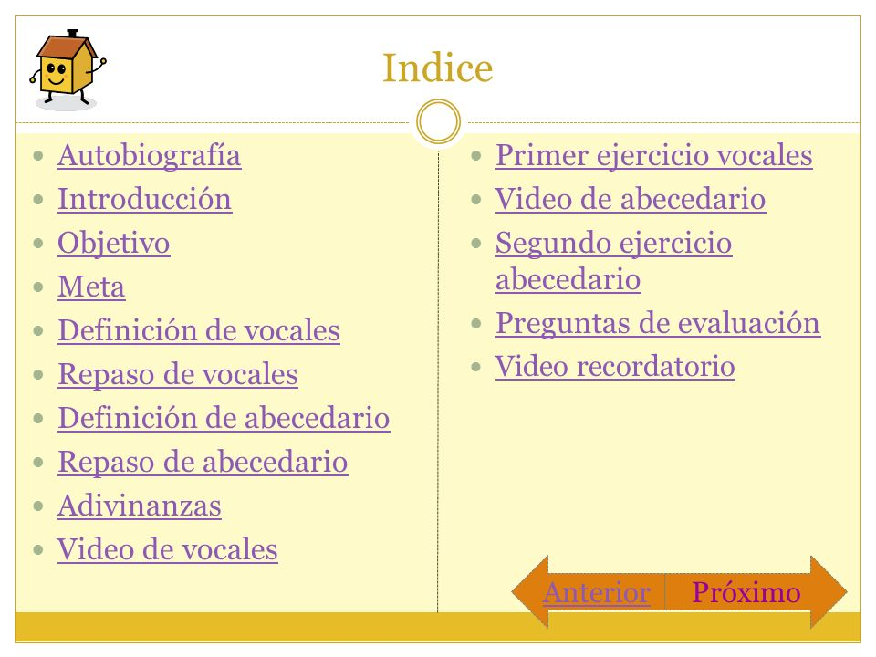 Indice Autobiografía Introducción Objetivo Meta Definición de vocales