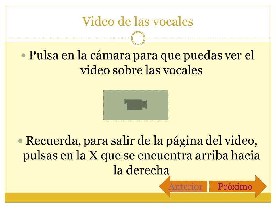 Pulsa en la cámara para que puedas ver el video sobre las vocales