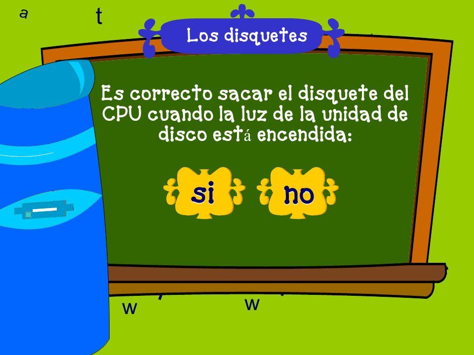 t a. Los disquetes. a. t. l. Es correcto sacar el disquete del CPU cuando la luz de la unidad de disco está encendida: