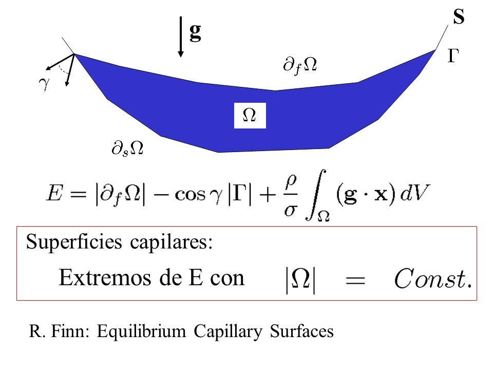 g Extremos de E con S Superficies capilares: