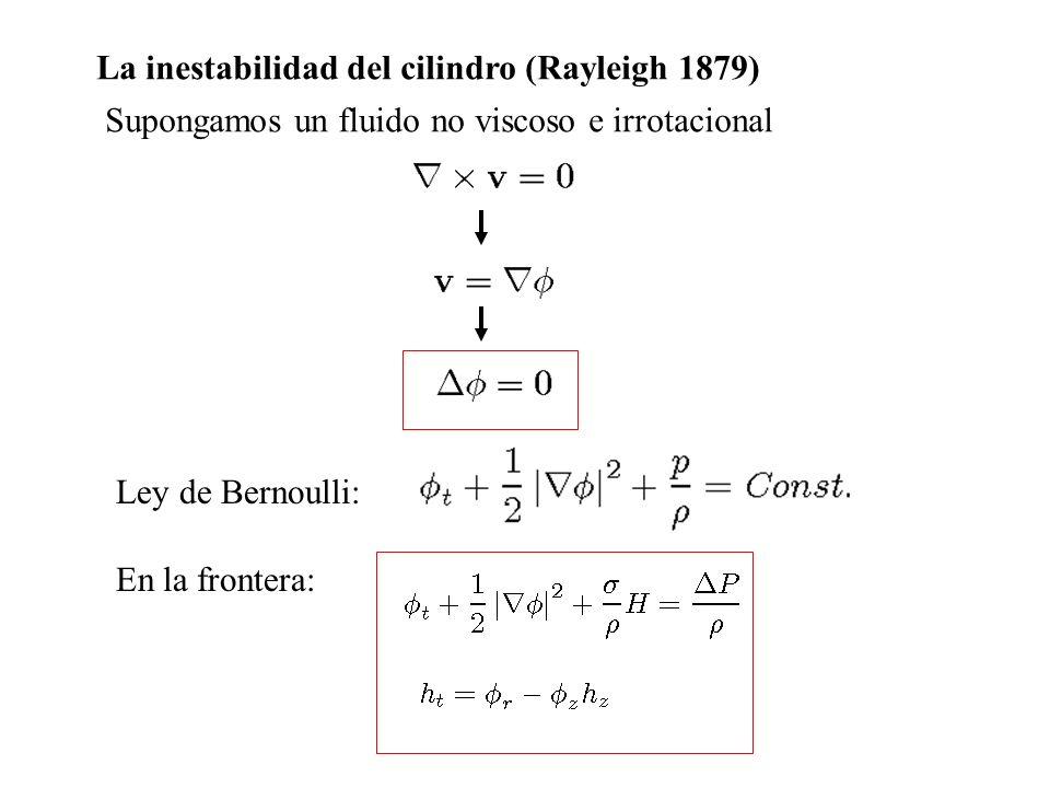 La inestabilidad del cilindro (Rayleigh 1879)