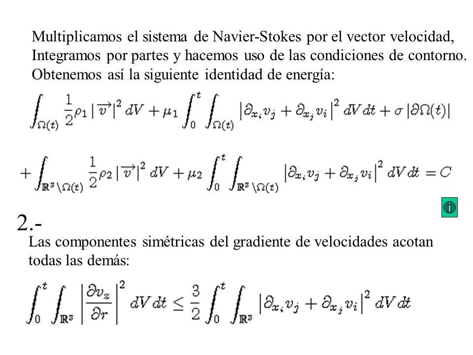 2.- Multiplicamos el sistema de Navier-Stokes por el vector velocidad,
