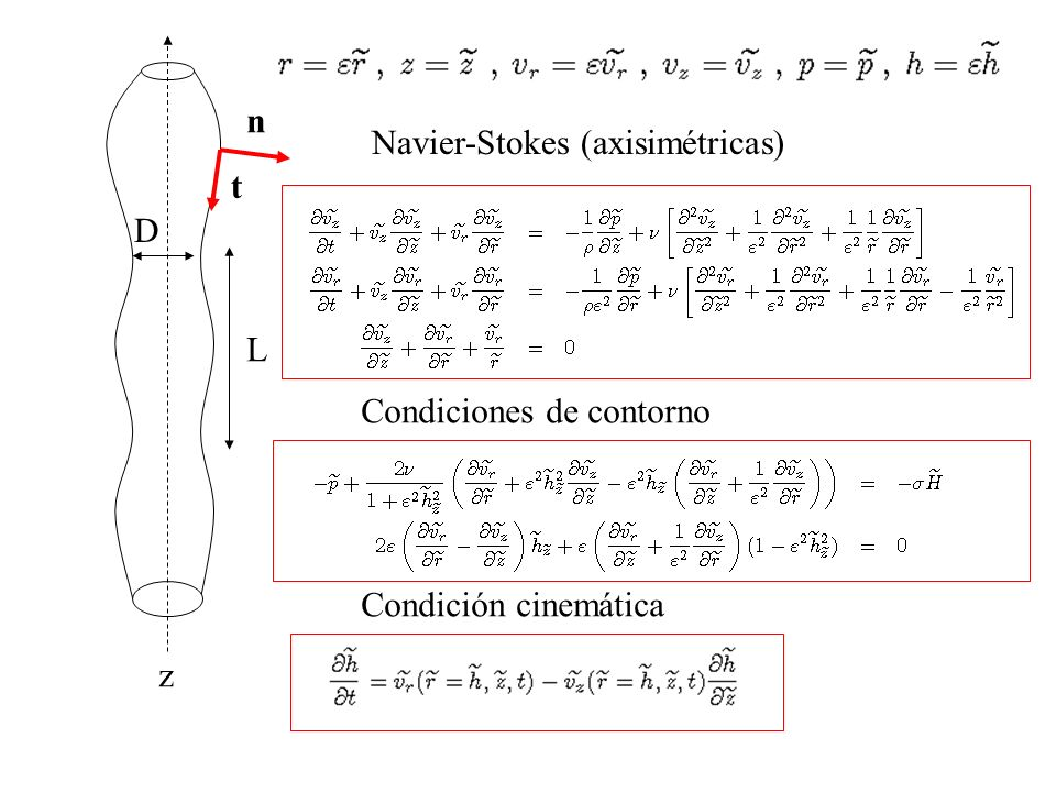 n Navier-Stokes (axisimétricas) t D L Condiciones de contorno Condición cinemática z