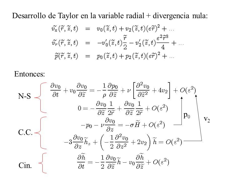 Desarrollo de Taylor en la variable radial + divergencia nula: