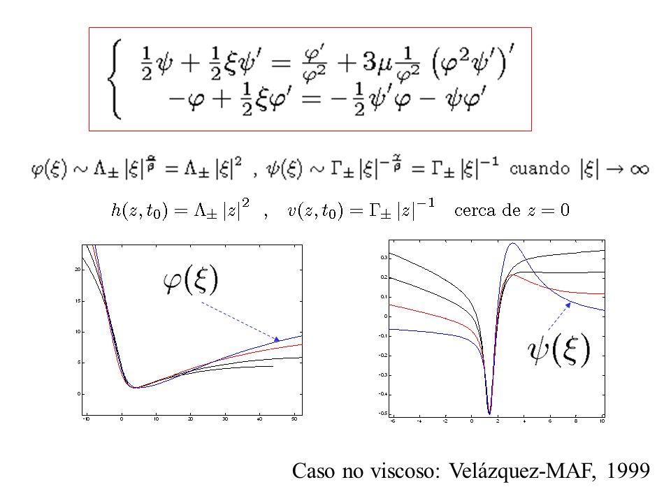 Caso no viscoso: Velázquez-MAF, 1999
