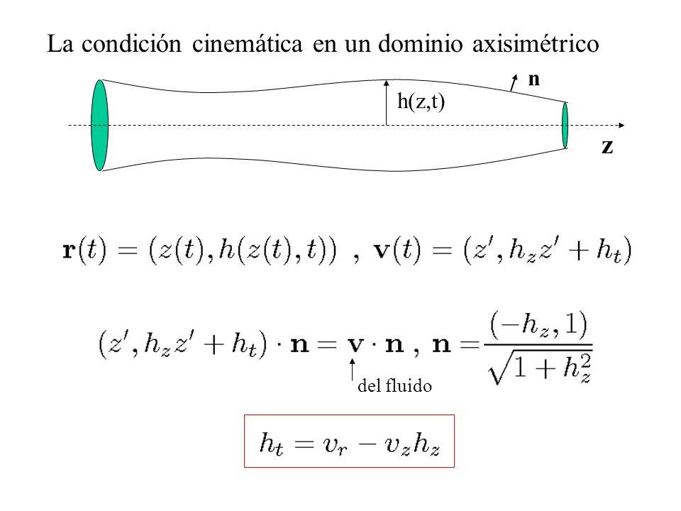 La condición cinemática en un dominio axisimétrico