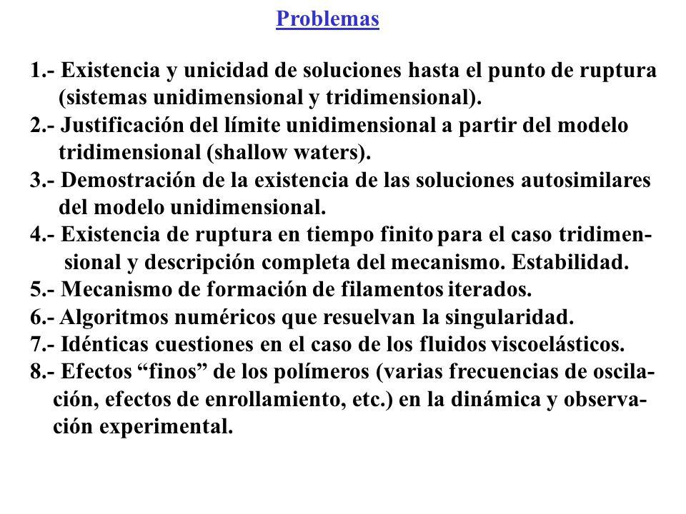 Problemas 1.- Existencia y unicidad de soluciones hasta el punto de ruptura. (sistemas unidimensional y tridimensional).