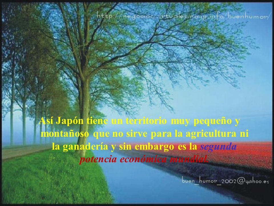 Así Japón tiene un territorio muy pequeño y montañoso que no sirve para la agricultura ni la ganadería y sin embargo es la segunda potencia económica mundial.