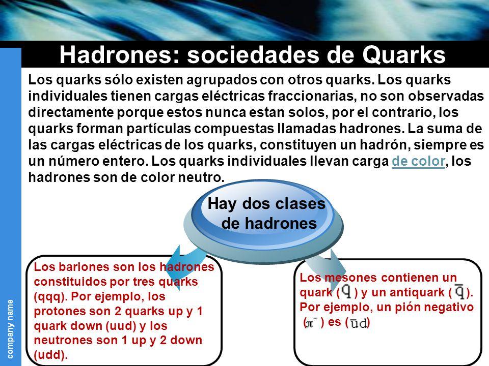 Hadrones: sociedades de Quarks