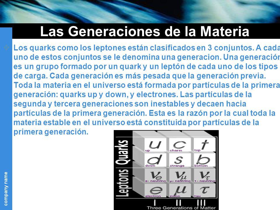 Las Generaciones de la Materia