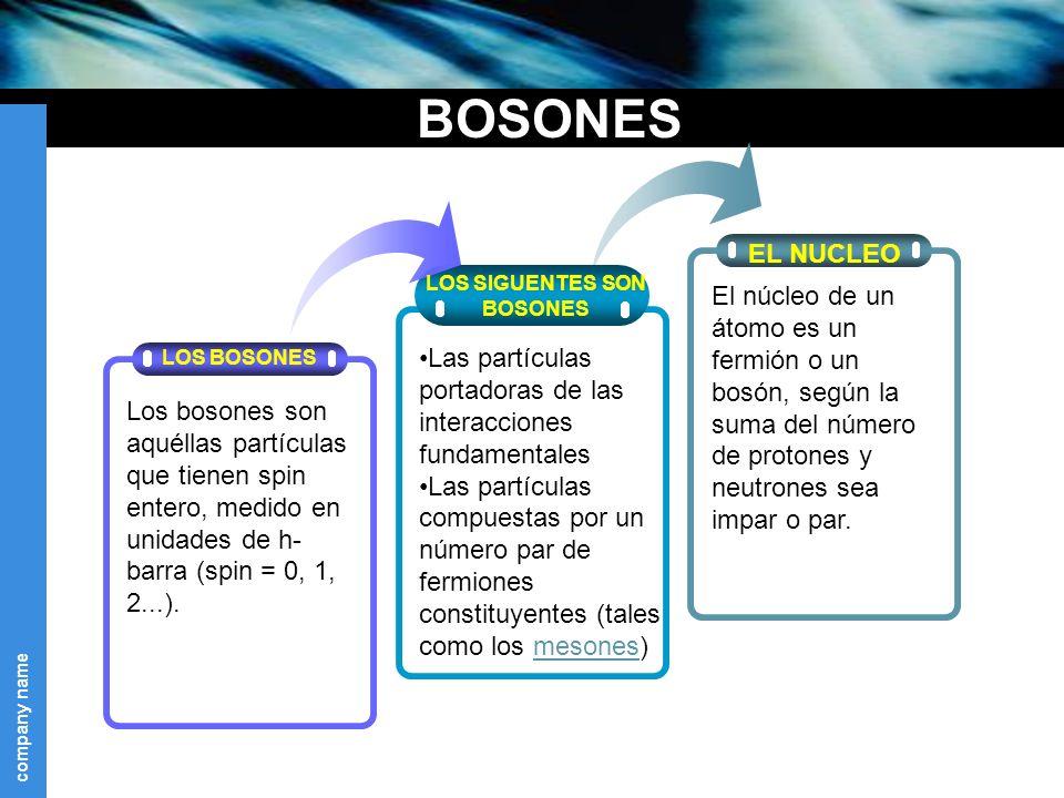 BOSONES EL NUCLEO. LOS SIGUENTES SON. BOSONES.