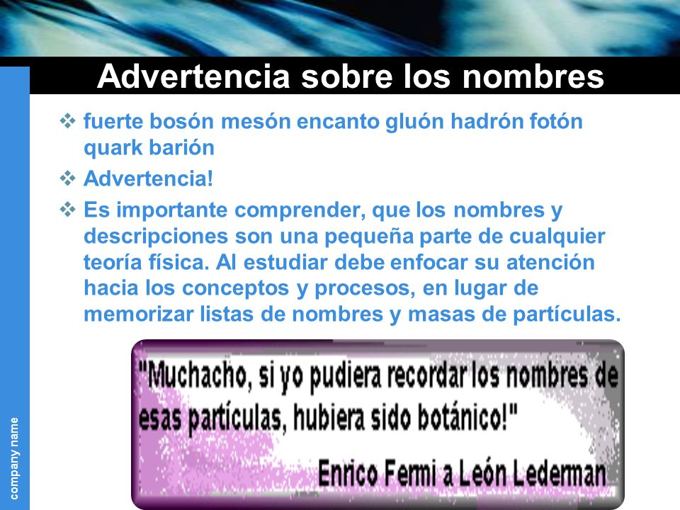 Advertencia sobre los nombres